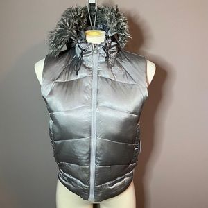 The North Face grey gray 500 down hooded vest S